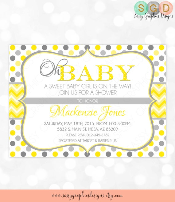 Polka dot and chevron baby shower invitation baby girl yellow gray il570xn filmwisefo