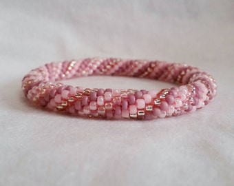 Pastel Pink Spiral Seed Bead Crochet Bangle - Ready to Ship