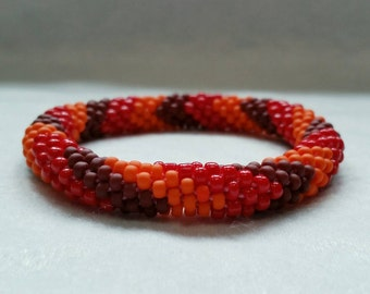 Fire Colors V-Pattern Seed Bead Crochet Bangle - Ready to Ship