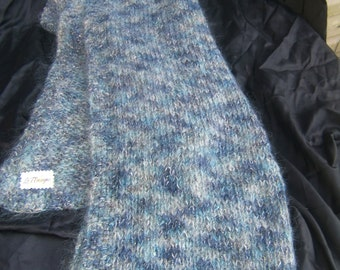 Blue and Gray Mohair Blend Sparkly and Fuzzy Shawl