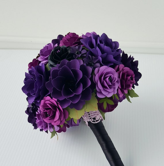 Paper Bouquet - Paper Flower Bouquet - Wedding Bouquet - Purple and Black - Custom Made - Any Color