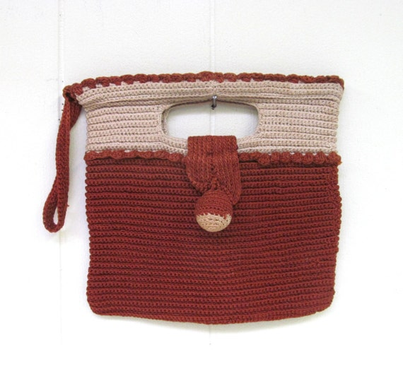 Retro Handbags, Purses, Wallets, Bags Vintage 1930s Purse / 30s Two-tone Rust Beige Cotton Crochet Clutch Bag $52.00 AT vintagedancer.com