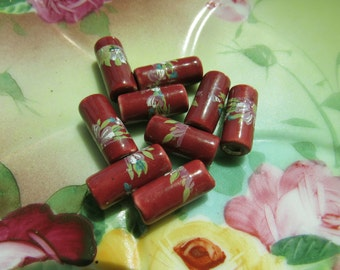 Vintage Ceramic Floral Beads Made in Greece