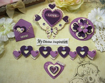 Violet, Purple and Ivory Handmade Velentine's Paper Embellishments for Scrapbooking Cards Mini Albums Tags and Papercrafts