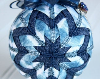 Quilted Bohemian Ornament Ball/Blue and White - Woodstock