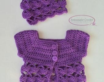 Crochet Pattern Tea Time Baby Sweater & Hat Pattern Set PDF230