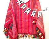 Vintage Woven Tassel Blouse Poncho Red