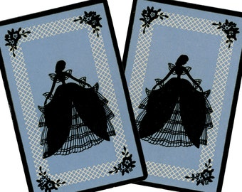 SOUTHERN BELLE SILHOUETTE (2) Vintage Single Swap Playing Cards Paper Ephemera Scrapbook Supplies