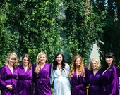 Satin bridesmaid robe, PURPLE bridesmaid dressing gown, personalized robes, silk bridesmaids robes, silk floral robe, kimono dressing gown
