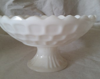 Mother's day vintage milk glass pedestal bowl
