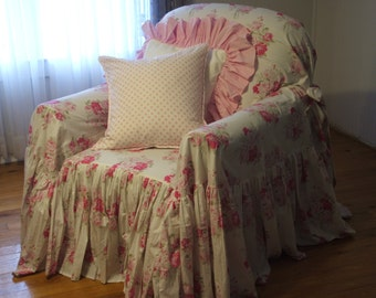 Items Similar To White Ruffled Chair Slipcover On Etsy