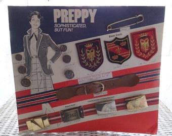 Vintage Preppy Accessories Blazer Crest Buckle Button Store Advertising Display