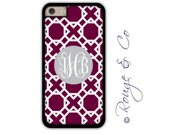 Monogram iPhone 6/6S * 6/6S PLUS * 5/5S * 5C personalized lattice phone case in custom colors with monogram or name