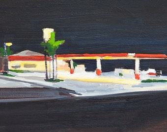 Night Gas Station in North Park, San Diego Painting