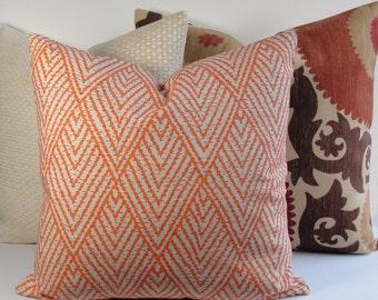 Tangerine Tan chevron geometric Decorative Pillow Cover Designer Lacefield throw pillow, Tahitian Stitch euro sham, square, and lumbars