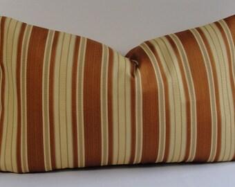 Decorative Stripe pillow cover-designer lumbar sizes-damask-rusty amber-BOTH SIDES-throw pillow-accent pillow-yellow-mandarin