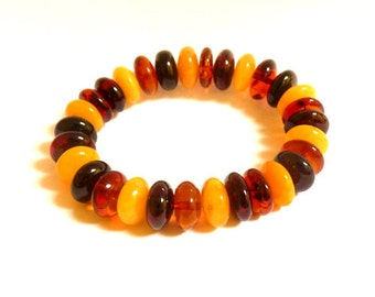 Baltic Amber Jewelry Bracelet Multicolor Rondelle Beads Natural 18.9 gram
