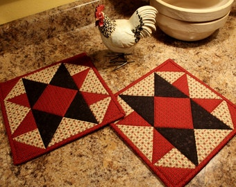 Quilted Pot holder, Quilted Hot Pad, Trivet, Quilted Pot Holder, Pot Holders- Rooster Red and Black