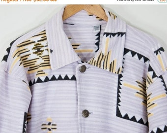 SALE 1980s Vintage French Terry Button Down Shirt Jacket (S, M, L)