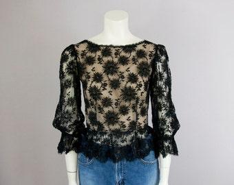 70s Vintage OSCAR De La RENTA Black Lace Sheer Peplum Blouse (XS, S)