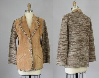 1970s Vintage Suede and Knit Jacket. 70s Montage Western Boho Blazer (S, M)