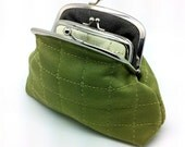 Green Kiss lock Purse Wallet Clutch Gift for Women Patchwork Square Pattern Charcoal Linen Metal Double Frame Silver