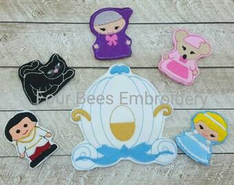 Cinderella  finger felt  puppet 6 piece play set carry bag prince charming carriage godmother cat mouse