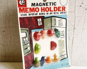 Vintage Fruit and  Vegetable Refrigerator Magnets - Fruit & Veggie Memo Magnets  - Unopened in Original Package - Mid-Century 1960s - NOS
