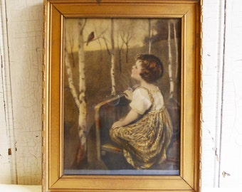 Vintage Spring Song Print - Simon Glucklich - Girl Looking at Robin - Gold Painted Wood Frame