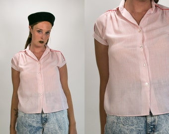 Vintage 1980's 1990's Sheer Pink Strip Blouse with Collar Flouncy Grunge Women's Cotton Size Small Medium
