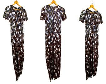 Vintage 1970's Monkey Print Polka Dot Maxi Dress Women's Small Retro