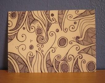 Abstract Postcard Print, Doodle Art Postcard.