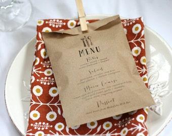 Wedding Menu Bag - Wedding Reception Menu - Bread, Silverware, or Favor Bags - 25 bags