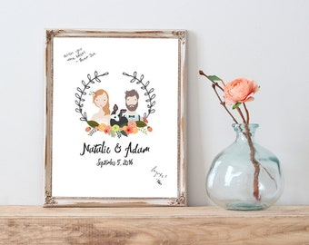 Custom Portrait Wedding Guestbook Sign with Pet