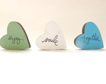 3 wooden hearts, home decor, valentine decor, Christmas gift,  blue, green and white room decor