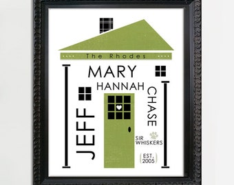 Family Wall Art, Custom Family Art, Personalized Family Art, Custom House Gift, Housewarming Gift, Custom Wedding Gift