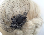Birdcage Veil  and a Bridal Hair Comb (2 Items)  Black SET Bridal Headpiece Rhinestone Bridal Hair Comb Weddings  Silver  Rinestone