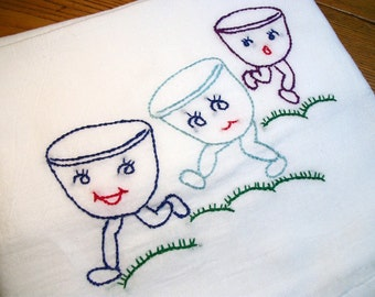 Dish Towel Dancing Dishes Design Flour Sack Frolicking Cups Hand Embroidered Dish Towel