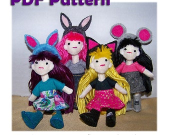 Felt Dolls, Felt Pattern, Doll Pattern, Poseable Doll Pattern, Felt Doll Pattern, Tiny Doll Pattern, Instant Download, PDF Pattern