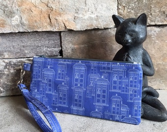 Doctor Who Tardis inspired zipper pouch.