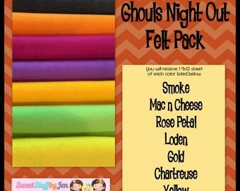 Wool Felt Bundle-Ghouls Night Out Fall-Halloween Felt Pack Wool Felt-Craft Felt-Wholesale