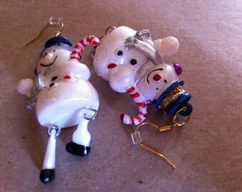 Dangle Blue Hat Snowman Earrings   103