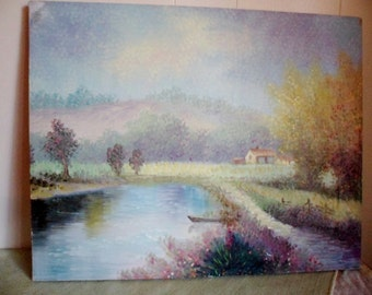 Impressionist River Landscape oil on canvas Painting by P. ARNOUX listed artist