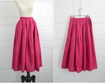 1970s Cassidy Raspberry Midi Pleated Skirt