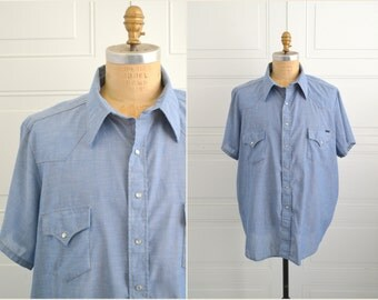 1970s Sears Western Wear Chambray Shirt