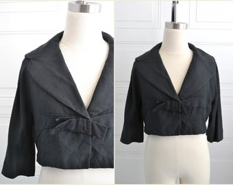1950s Ben Zuckerman Black Silk Cropped Jacket