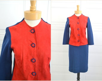 1960s Bobbe Abbott Suede and Wool Skirt Suit