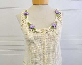 1990s Crochet Tank with Floral Appliques
