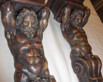 Mid-century-Neoclassical-Deco-sconce-figural-bust-greek-roman-God Pair for wall shelf