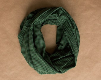 CLEARANCE!! Cotton Infinity Scarf - Black Green Houndstooth Plaid - Brushed woven cotton flannel - ready to ship